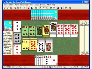 Zwei-Spieler Canasta über das Internet oder gegen den Computer