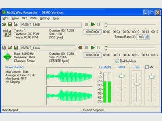 Konvertiert MIDI Dateien in WAV oder MP3 Dateien.