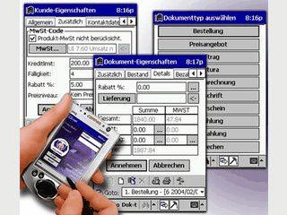 Auftragsbearbeitung mit  Bestandskontrolle. Kunden-Datenbank.