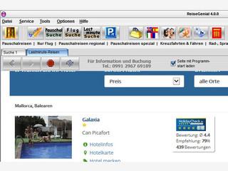 Browser zur Suche und Buchung von Reisen im Internet