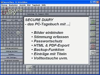 PC-Tagebuch mit Paßwortschutz, Einbinden von Bildern, HTML und PDF-Export