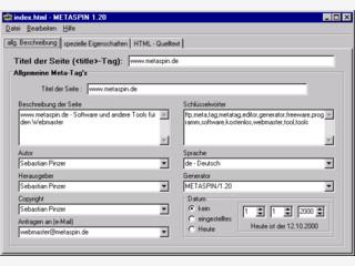 Programm zur Erstellung und Bearbeitung von Metatags und HTML-Dateien.