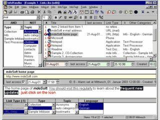 Programm zur Verwaltung von Notizen, Dokumenten, Weblinks, E-Mails und anderem.