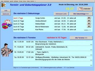 Komfortable Termin-Erinnerung für Excel, mit Sprachausgabe und Kalender.